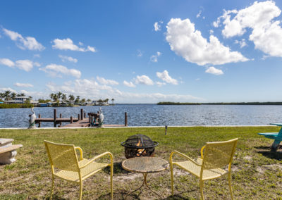 Enjoy the firepit at Knolls Court Waterfront Motel Matlacha Florida