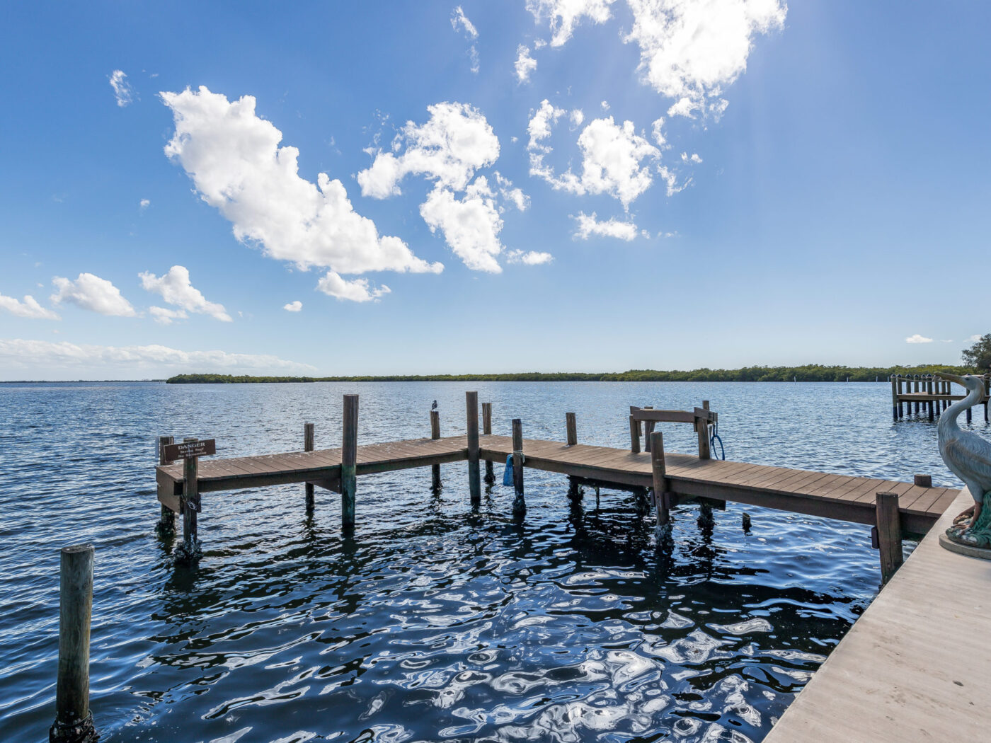 Docking piers at Knolls Court Waterfront Motel Matlacha Florida